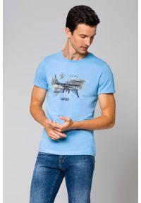 Niebieski t-shirt Lancerto z nadrukiem, klasyczny, z klasycznym kołnierzykiem