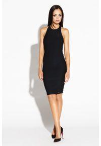 Dursi - Czarna Mini Sukienka Odsłaniająca Ramiona i Plecy. Kolor: czarny. Materiał: elastan, poliester. Długość: mini