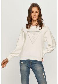 Biały sweter Guess na co dzień, długi, z aplikacjami, z długim rękawem