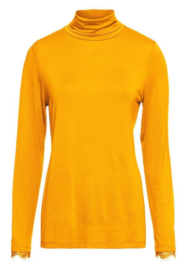 Żółta bluzka bonprix z golfem, elegancka, w koronkowe wzory