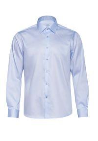 VEVA - Błękitna Koszula Męska Klasyczny Krój Satyna. Typ kołnierza: kołnierzyk klasyczny. Kolor: niebieski. Materiał: satyna. Długość rękawa: długi rękaw. Długość: długie. Styl: klasyczny