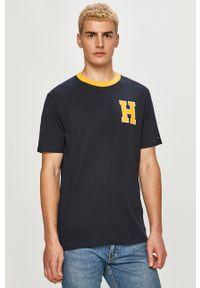 Niebieski t-shirt TOMMY HILFIGER z nadrukiem, na co dzień, casualowy