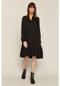 Czarna sukienka medicine z długim rękawem, rozkloszowana, gładkie, mini