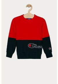 Czerwona bluza Champion na co dzień, bez kaptura, z aplikacjami, casualowa