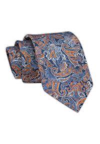 Chattier - Krawat Męski, Niebiesko-Pomarańczowy w Paisley, Klasyczny, Szeroki 7,5 cm, Elegancki -CHATTIER. Kolor: niebieski. Materiał: tkanina. Wzór: paisley. Styl: klasyczny, elegancki