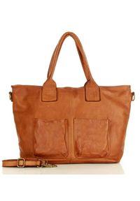 Marco Mazzini handmade - Torebka Skórzana Shopper Bag Camel. Materiał: skórzane