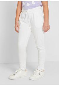 Białe spodnie bonprix gładkie, do domu