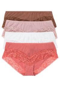 """Figi """"panty"""" z koronką (4 pary) bonprix biel wełny - rabarbarowy - różowobrązowy. Kolor: biały. Materiał: koronka, wełna. Wzór: koronka"""
