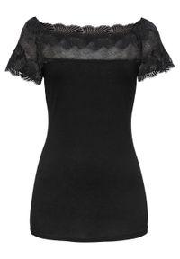 Czarna bluzka bonprix krótka, z krótkim rękawem