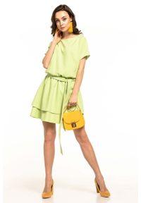 Tessita - Jasnozielona Kobieca Sukienka z Podwójną Spódnicą. Kolor: zielony. Materiał: poliester, elastan
