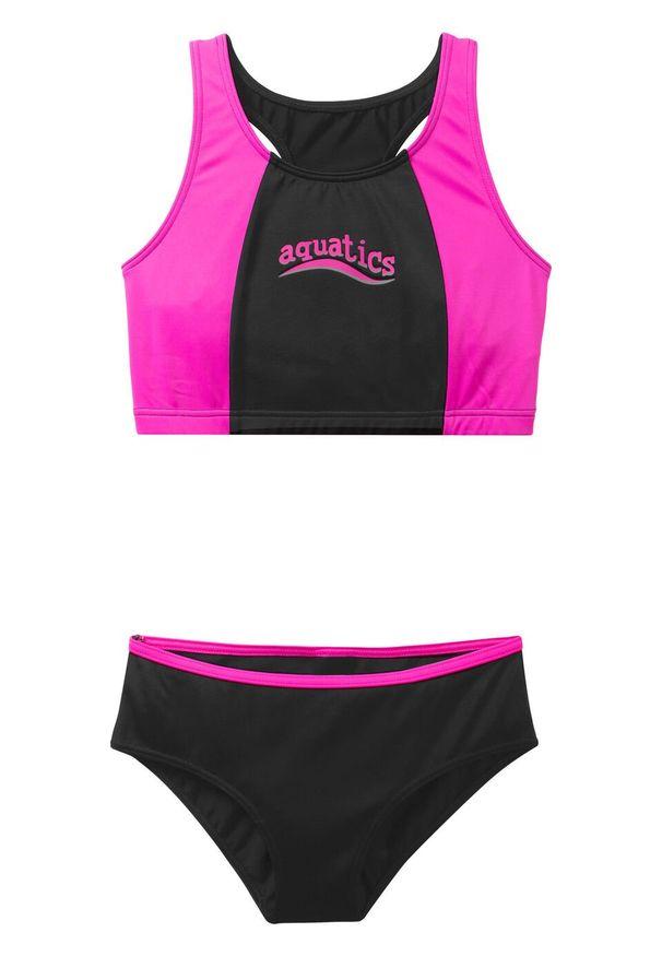 Bikini dziewczęce (2 części) bonprix czarno-różowy. Kolor: czarny