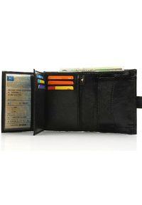 Czarny portfel Solier w kolorowe wzory