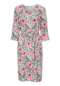 Różowa sukienka Soyaconcept elegancka, w kolorowe wzory