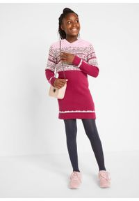 Sukienka dziewczęca dzianinowa z kapturem bonprix jeżynowy czerwony - szary melanż - kryształowy jasnoróżowy - biel wełny. Typ kołnierza: kaptur. Kolor: różowy. Materiał: dzianina, wełna. Wzór: melanż