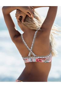 DEL MAAR - Top od bikini z wiązaniem Niraq. Kolor: beżowy. Materiał: materiał. Wzór: kwiaty, kolorowy