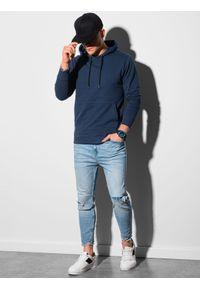 Ombre Clothing - Bluza męska z kapturem B1154 - granatowa - XXL. Okazja: na co dzień. Typ kołnierza: kaptur. Kolor: niebieski. Materiał: bawełna, poliester. Styl: klasyczny, casual