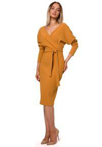 Żółta sukienka wizytowa MOE kopertowa, z kopertowym dekoltem