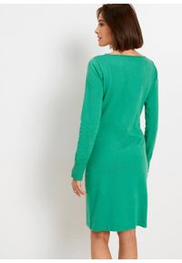 Sukienka dzianinowa bonprix zieleń trawiasta. Kolor: zielony. Materiał: dzianina. Długość rękawa: długi rękaw. Wzór: gładki