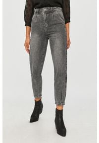 Szary jeansy loose fit Answear Lab w kolorowe wzory, z podwyższonym stanem, wakacyjny