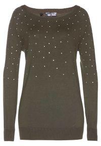 Długi sweter z połyskującymi kamieniami bonprix ciemnooliwkowy. Kolor: zielony. Długość: długie