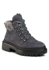 Szare buty trekkingowe Stokton z cholewką, z aplikacjami