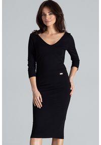 Lenitif - Elegancka dopasowana sukienka z dekoltem V czarna. Kolor: czarny. Typ sukienki: dopasowane. Styl: elegancki. Długość: midi