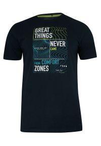 Pako Jeans - T-shirt Bawełniany, Granatowy z Nadrukiem, Krótki Rękaw, U-neck -PAKO JEANS- Męski. Okazja: na co dzień. Kolor: niebieski. Materiał: bawełna. Długość rękawa: krótki rękaw. Długość: krótkie. Wzór: nadruk. Styl: casual