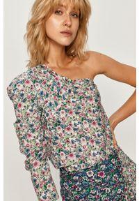 Wielokolorowa bluzka Pepe Jeans z asymetrycznym kołnierzem, krótka, na co dzień, w kwiaty