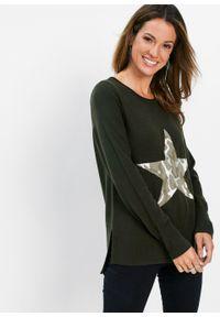 Zielony sweter bonprix w kolorowe wzory