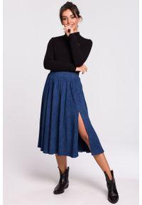e-margeritka - Spódnica rozkloszowana z rozcięciem denim - s/m. Okazja: na co dzień. Materiał: denim. Długość: krótkie. Styl: casual