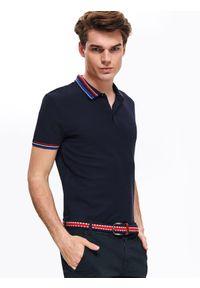 Niebieski t-shirt TOP SECRET z krótkim rękawem, polo