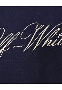 OFF-WHITE - Granatowa bluza z logo. Okazja: na co dzień. Typ kołnierza: bez kaptura. Kolor: niebieski. Materiał: bawełna. Wzór: aplikacja. Sezon: jesień. Styl: casual