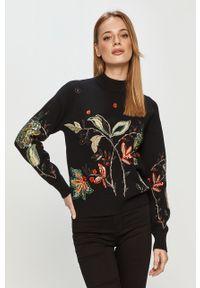 Czarny sweter Desigual długi, casualowy, z długim rękawem