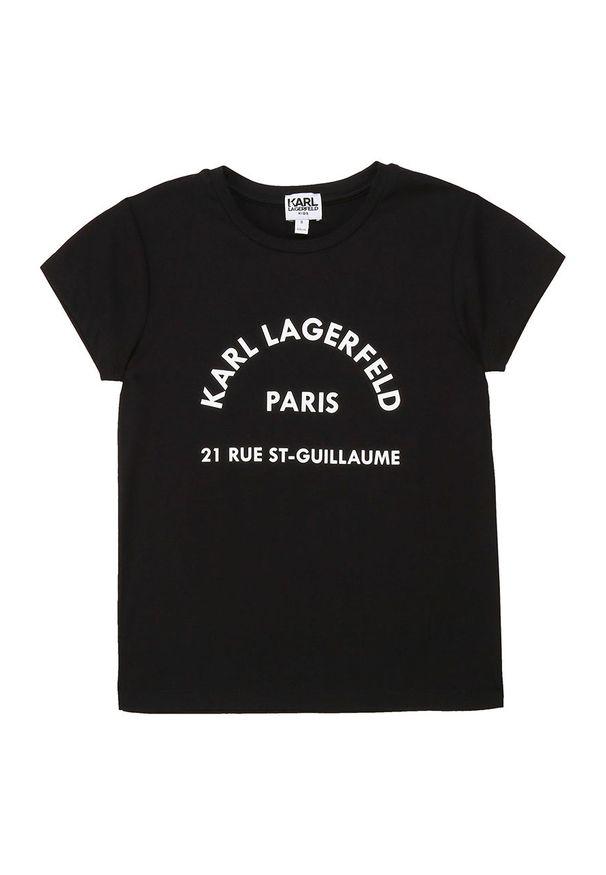 Czarna bluzka z krótkim rękawem Karl Lagerfeld krótka, z włoskim kołnierzykiem, klasyczna