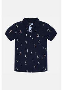 Niebieski t-shirt polo Mayoral casualowy, polo, na co dzień, krótki
