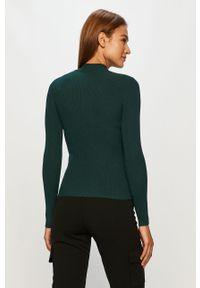 Zielony sweter Jacqueline de Yong z golfem, długi, z długim rękawem