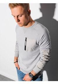 Ombre Clothing - Bluza męska bez kaptura B1151 - jasnoszara - XXL. Typ kołnierza: bez kaptura. Kolor: szary. Materiał: bawełna, jeans, dzianina, materiał, tkanina, poliester