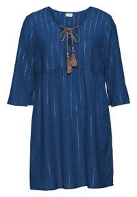 Niebieska tunika bonprix w paski, z dekoltem w serek