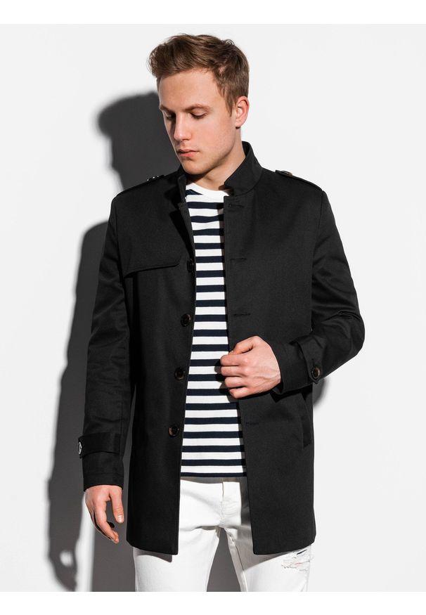 Czarny płaszcz Ombre Clothing ze stójką, na wiosnę, elegancki