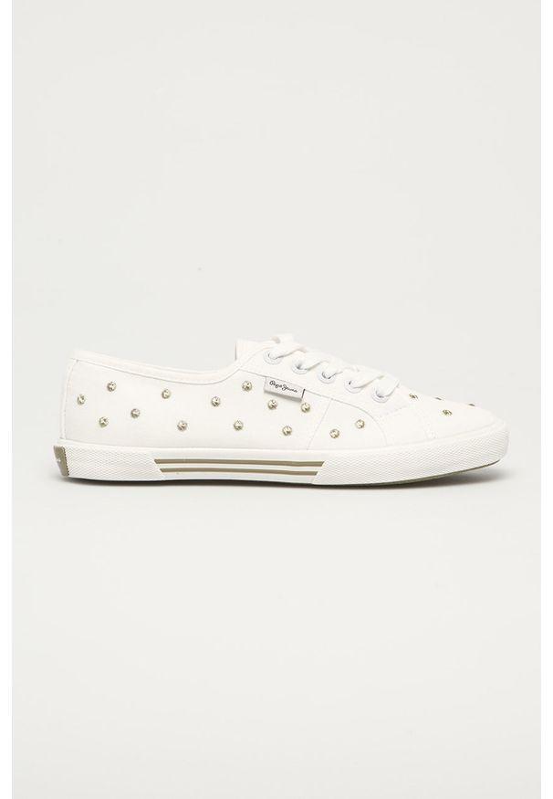 Białe tenisówki Pepe Jeans na średnim obcasie, na obcasie, z okrągłym noskiem, na sznurówki