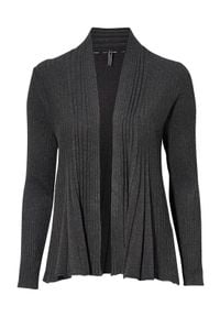 Freequent Sweter Claudisse ciemny szary melanż female szary M (40). Kolor: szary. Materiał: prążkowany, dzianina. Długość: krótkie. Wzór: melanż