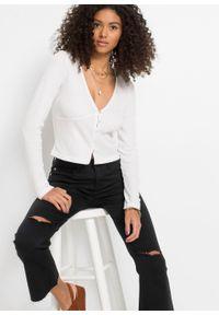 Krótki sweter rozpinany bonprix biały. Kolor: biały. Długość: krótkie