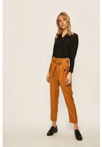 Brązowe spodnie materiałowe Noisy may z podwyższonym stanem
