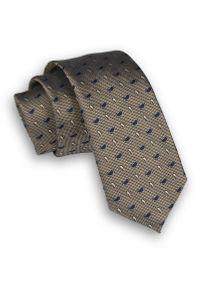 Alties - Brązowy Elegancki Krawat Męski -ALTIES- 6 cm, w Granatowy Wzór Paisley, Łezki. Kolor: beżowy, brązowy, wielokolorowy. Materiał: tkanina. Wzór: paisley. Styl: elegancki