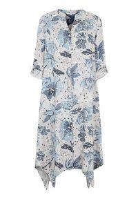 Niebieska sukienka Cellbes z motywem zwierzęcym, asymetryczna, z długim rękawem, ze stójką