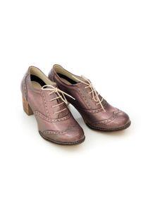 Zapato - sznurowane półbuty na 6 cm słupku - skóra naturalna - model 251 - kolor benzynka. Materiał: skóra. Obcas: na słupku