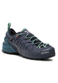 Niebieskie buty trekkingowe Salewa rockowe, z cholewką