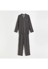 Reserved - Dwuczęściowa piżama z wiskozy - Czarny. Kolor: czarny. Materiał: wiskoza