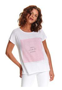 Biały t-shirt TOP SECRET krótki, z krótkim rękawem, z nadrukiem