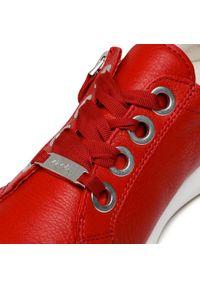 Czerwone półbuty Ara z cholewką, na płaskiej podeszwie